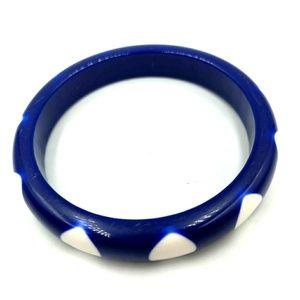 Vtg Gorgeous Mod Bangle Bracelet Cobalt Blue Dots